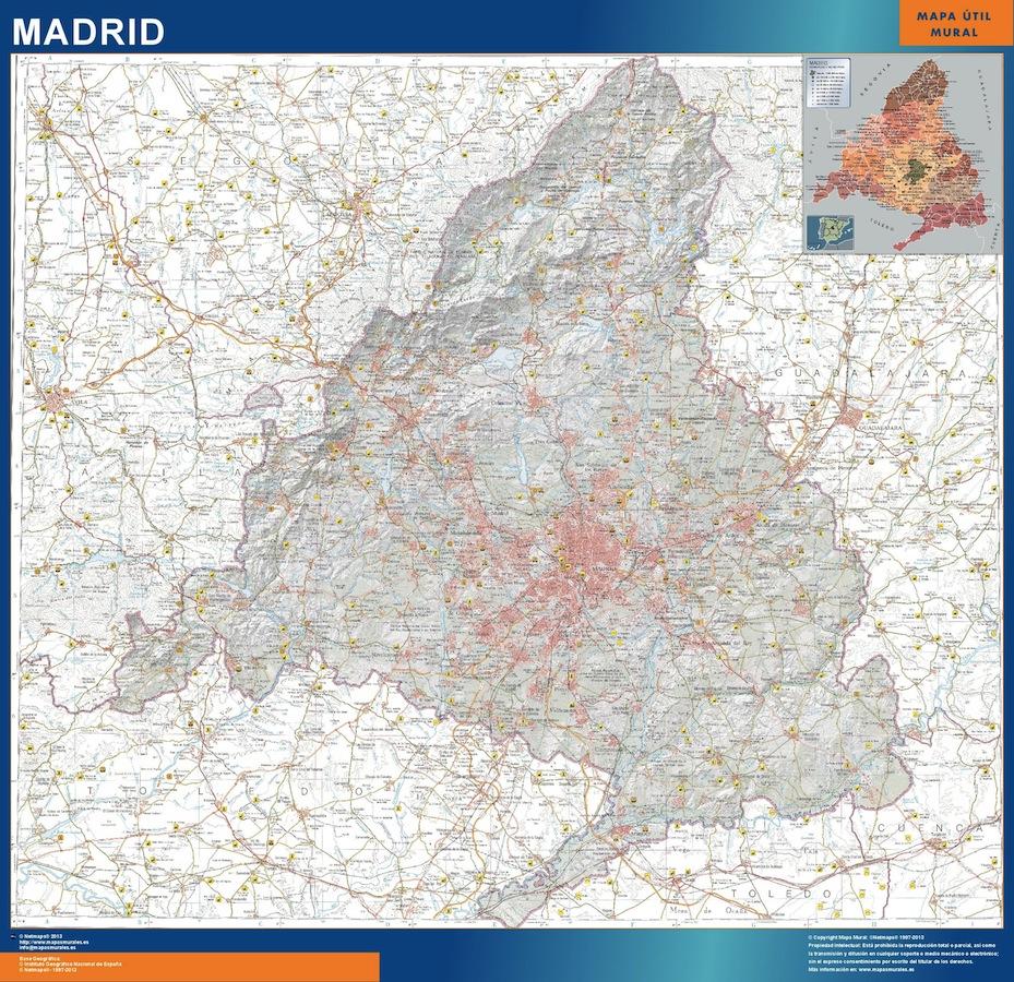 Mapa Comunidad Madrid Fisico Plastificado Mapas Para Mexico De